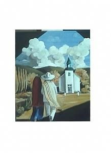 New Mexico Mission Painting by Patsi Hughes
