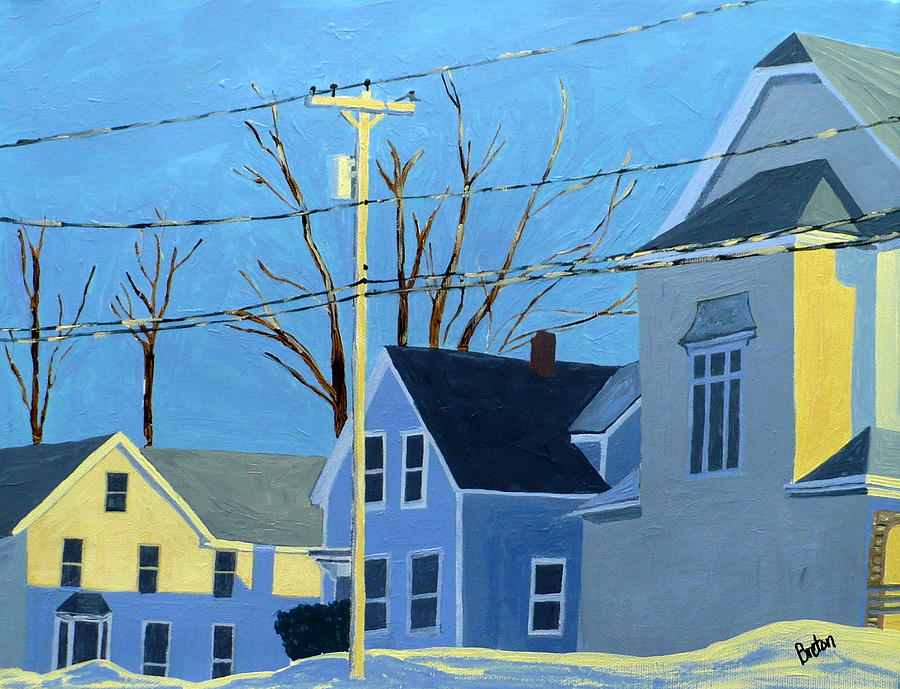 Maine Painting - New Mills Winter by Laurie Breton