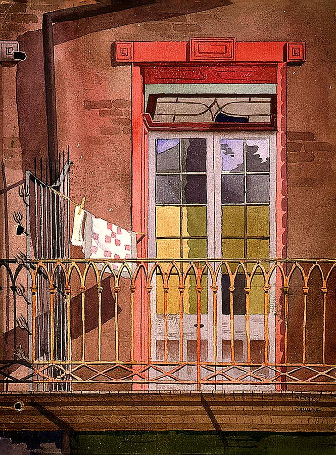 New Orleans Balcony With Laundry Galley House Painting By Mountain Dreams