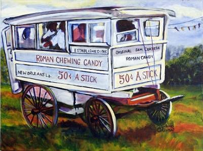 New Orleans Painting - New Orleans Candy Cart by C D  Collins