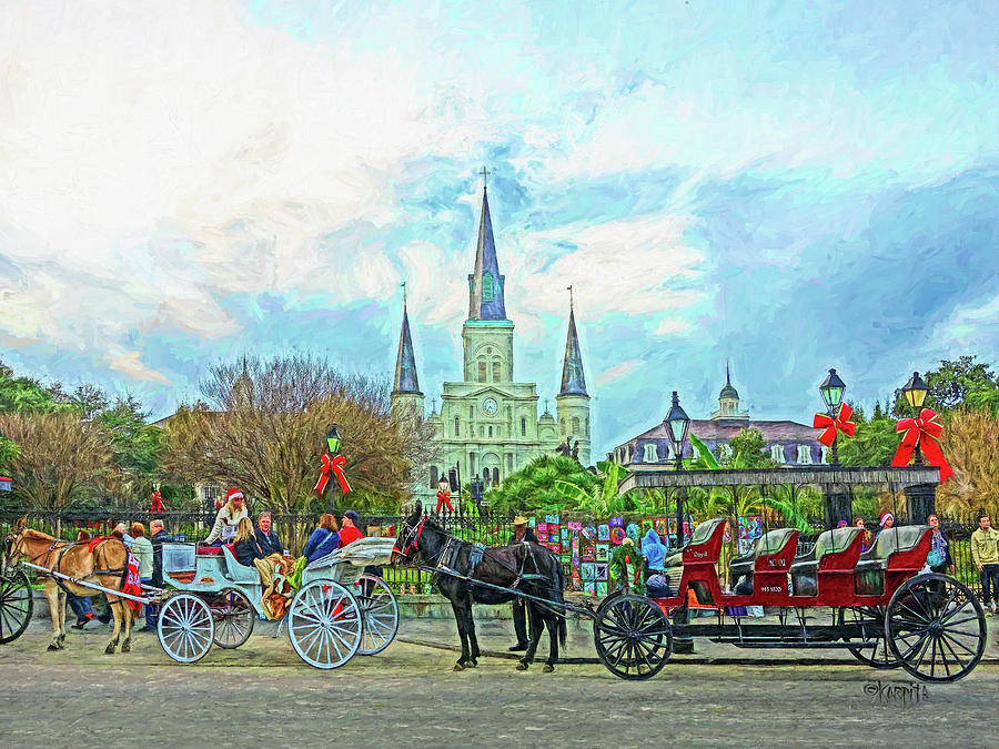 New Orleans - Christmas in Jackson Square by Rebecca Korpita