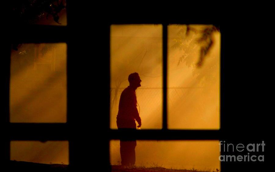 New Orleans Fire Watcher Thru The Window Panes Photograph