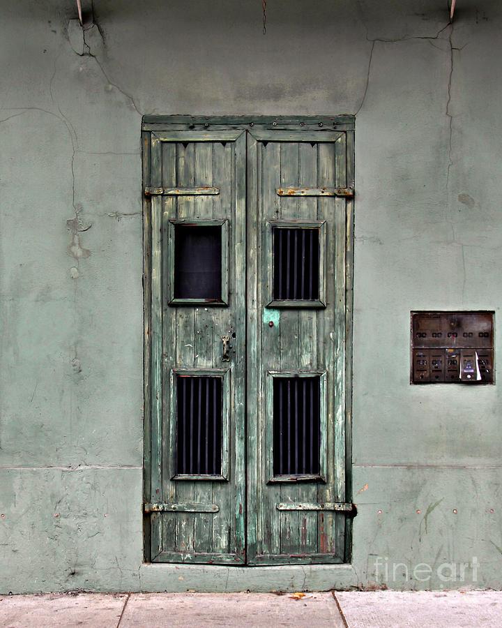 Door Photograph - New Orleans Green Doors by Perry Webster