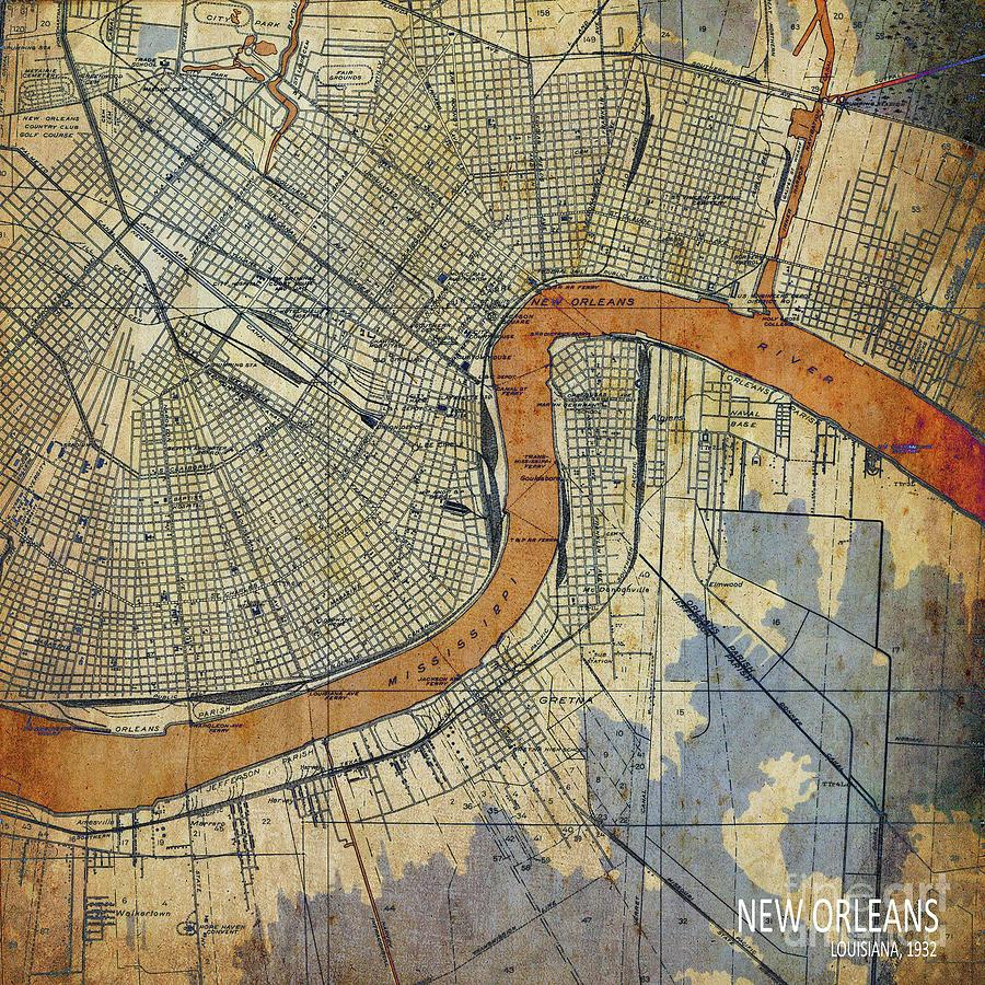 vintage new orleans map New Orleans Louisiana Vintage Map Digital Art By Drawspots vintage new orleans map
