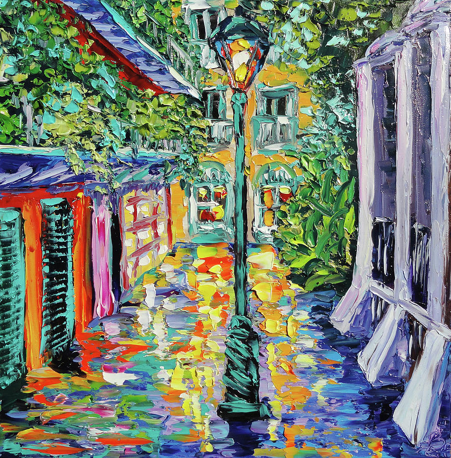New Painting - New Orleans Oil Painting - Pirates Alley Garden by Beata Sasik
