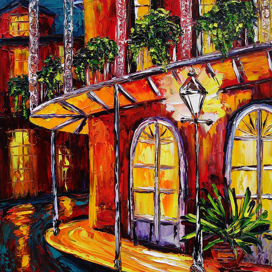 Oil Paintings Painting - New Orleans Original Oil Painting French Quarter Glow by Beata Sasik
