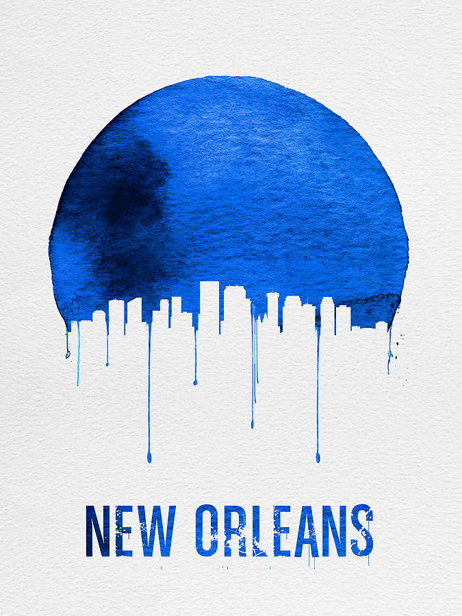 New Orleans Painting - New Orleans Skyline Blue by Naxart Studio