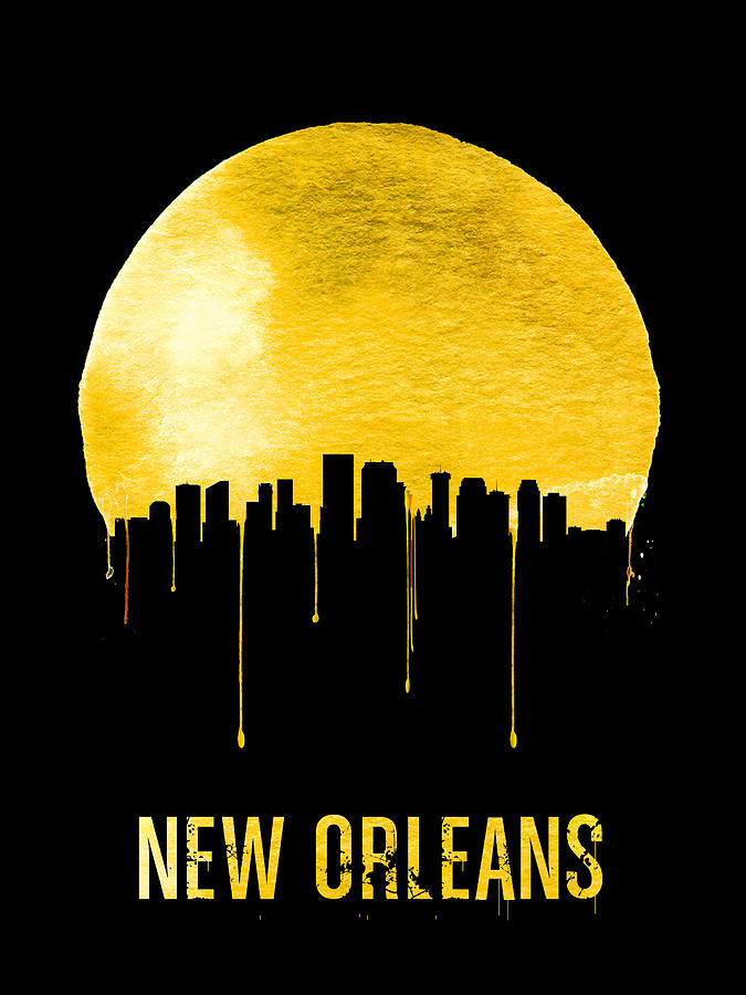 New Orleans Painting - New Orleans Skyline Yellow by Naxart Studio