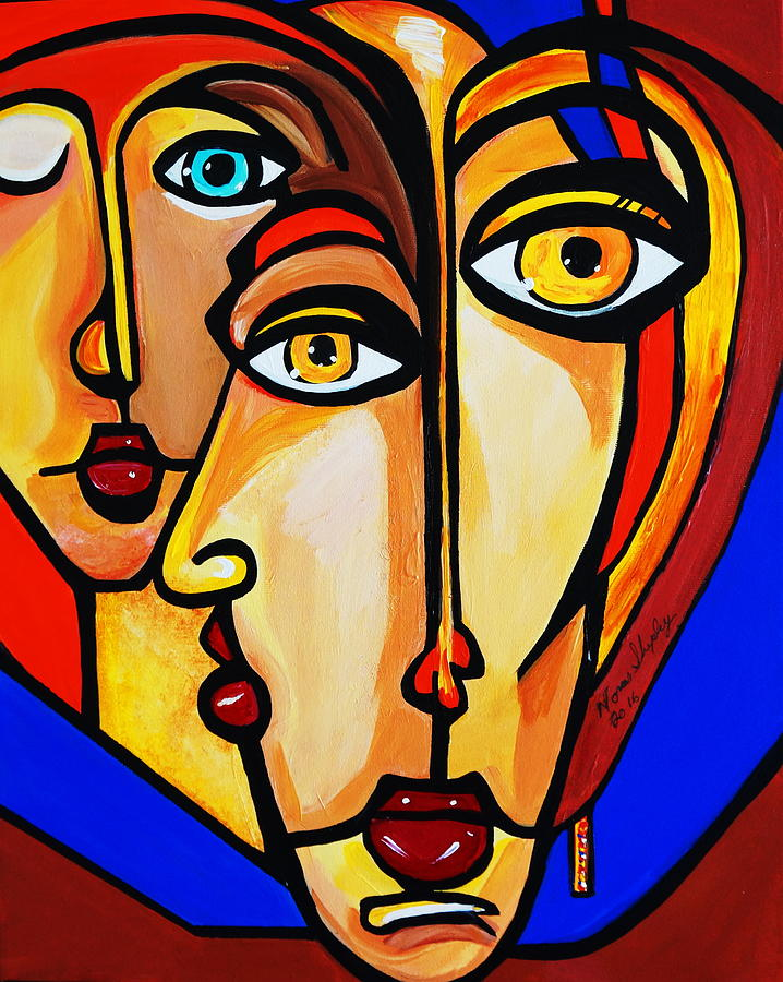 Bold Colors Painting - New Picasso By Nora Friends by Nora Shepley