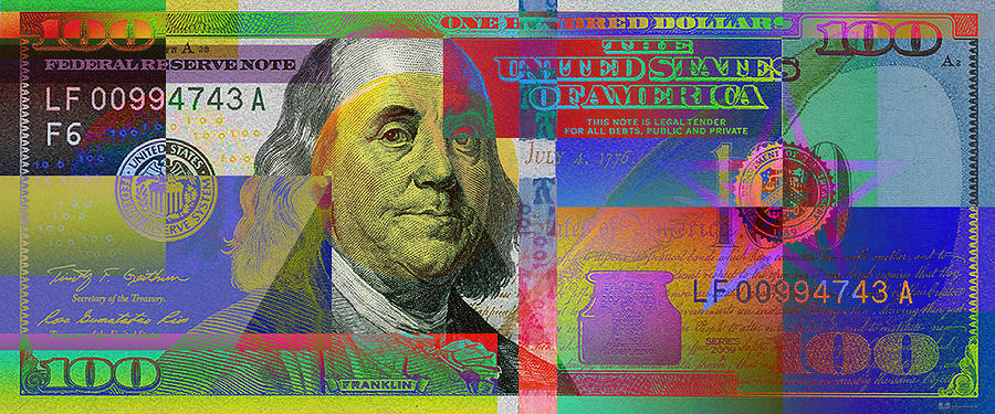Still Life Photograph - New Pop-colorized One Hundred Us Dollar Bill by Serge Averbukh