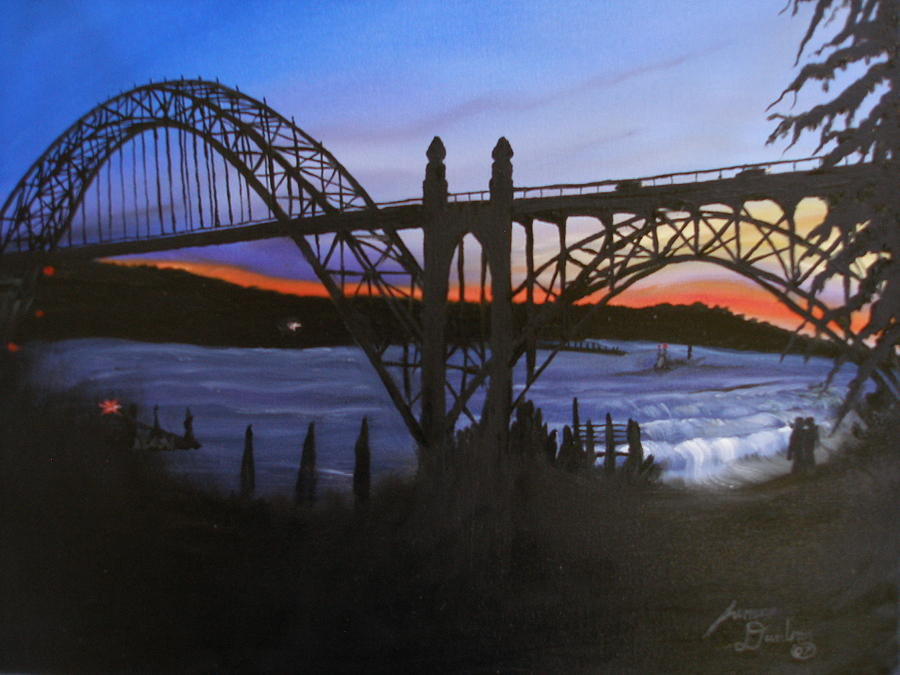 Great Bridge Painting - New Port Bay Bridge At Sunset by Portland Art Creations