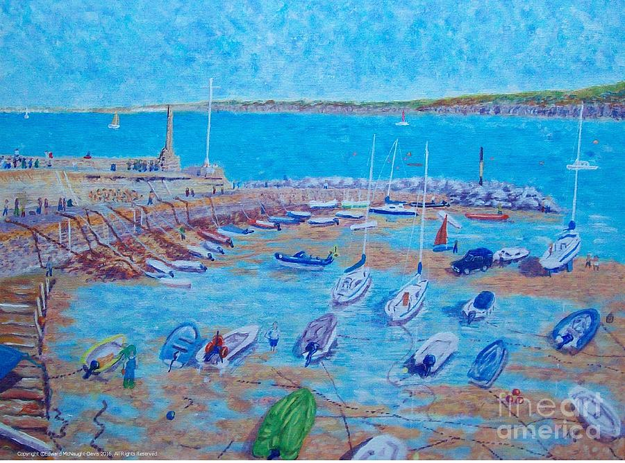 New Quay Harbour Blue Boats Ceredigion by Edward McNaught-Davis