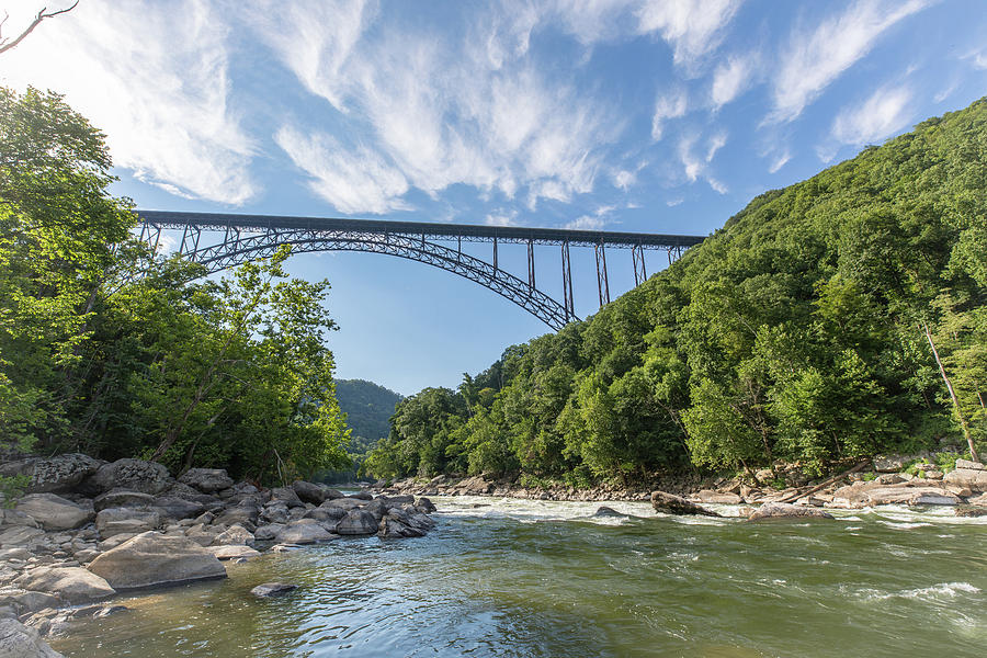 Landscape Photograph - New River Gorge Bridge over the New River by M C Hood