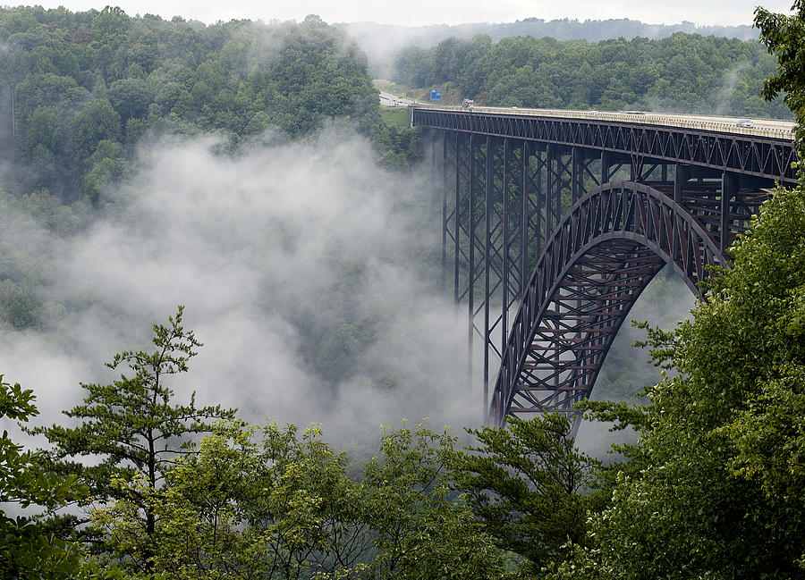 New Photograph - New River Gorge Bridge On A Foggy Day In West Virginia by Brendan Reals