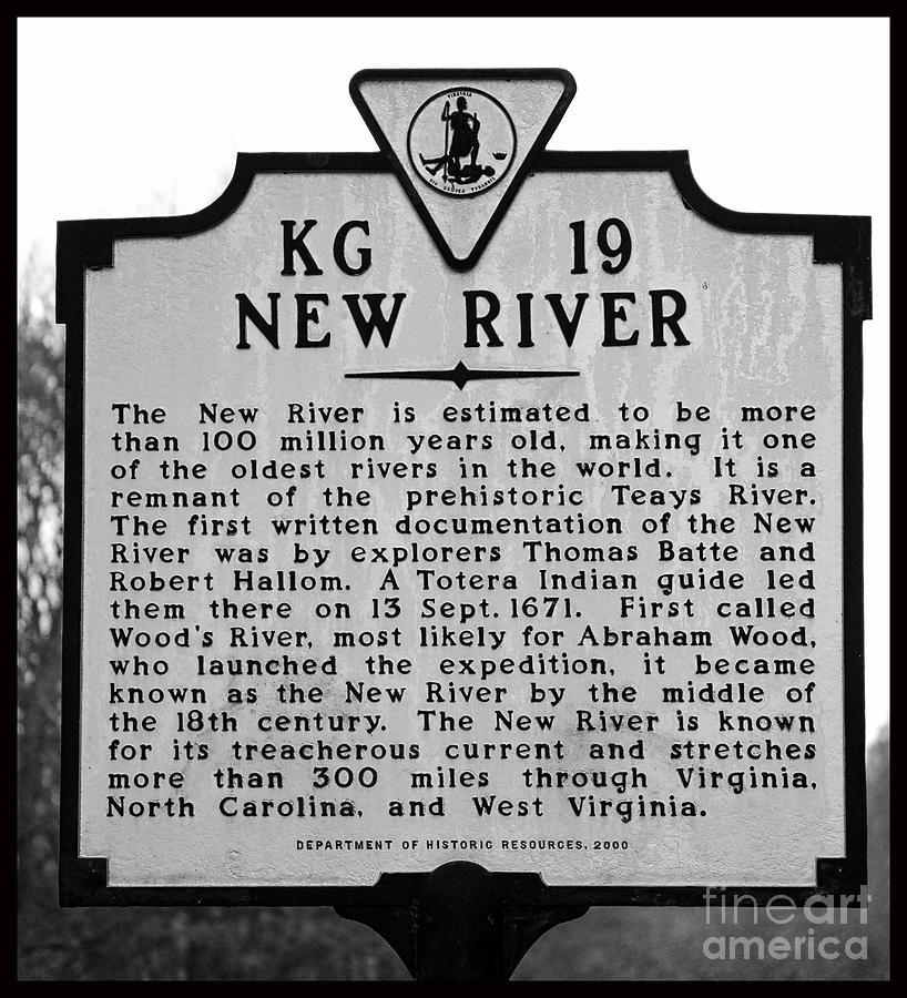 New River Photograph - New River Historical Marker by Kerri Farley