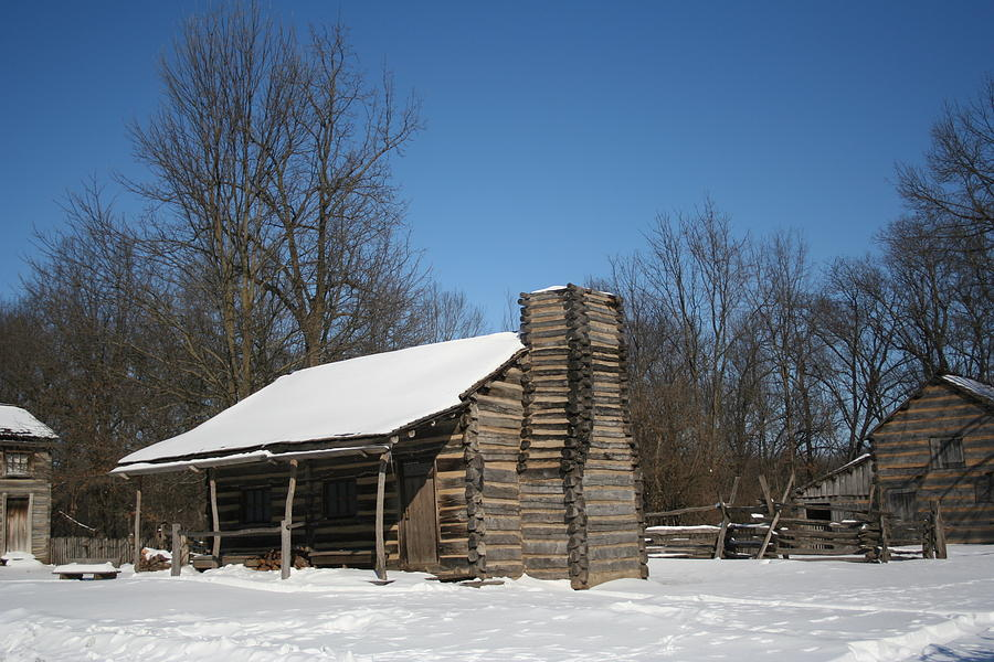 Log Photograph - New Salem Winter Home by Gregory Jeffries