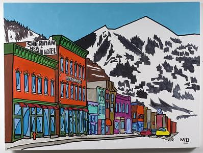 Main Street Painting - New Sheridan Hotel by M D