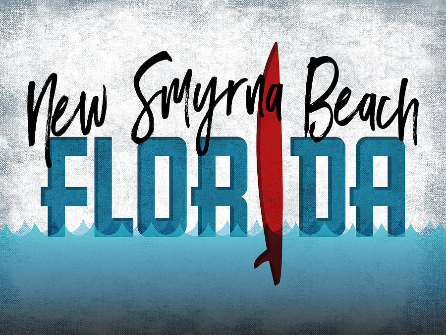 New Smyrna Beach Digital Art - New Smyrna Beach Red Surfboard	 by Flo Karp