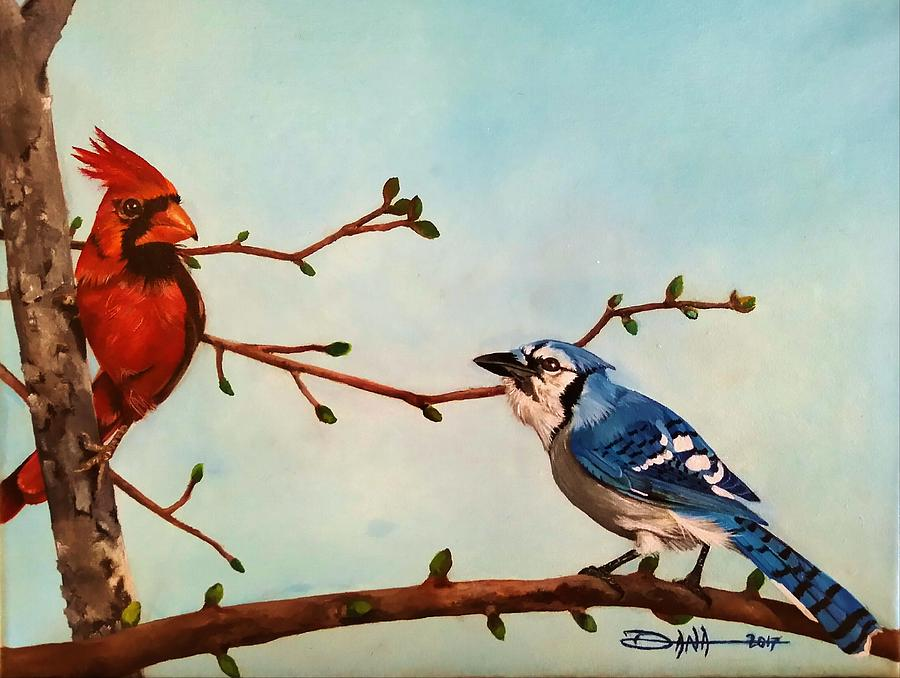 Birds Painting - New Buds Of Spring by Dana Newman