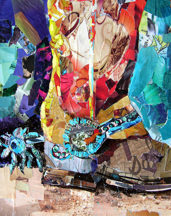 Torn Paper Collage Painting - New Spurs by Suzy Pal Powell