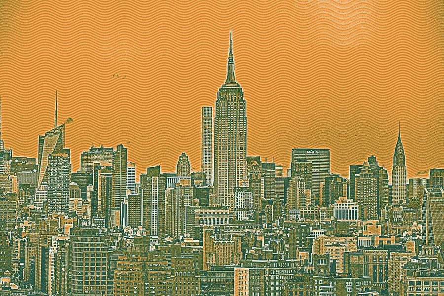 Nature Painting - New Tork City Ny Travel Poster 4 by Celestial Images