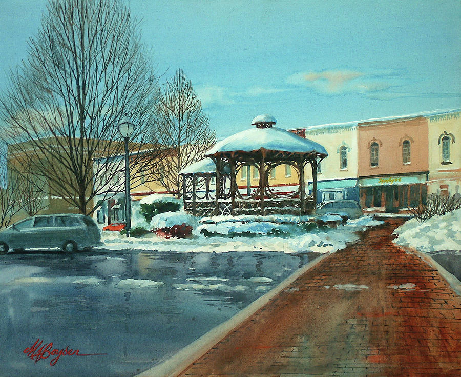 Triangle Park Painting - Triangle Park In Winter by Maryann Boysen