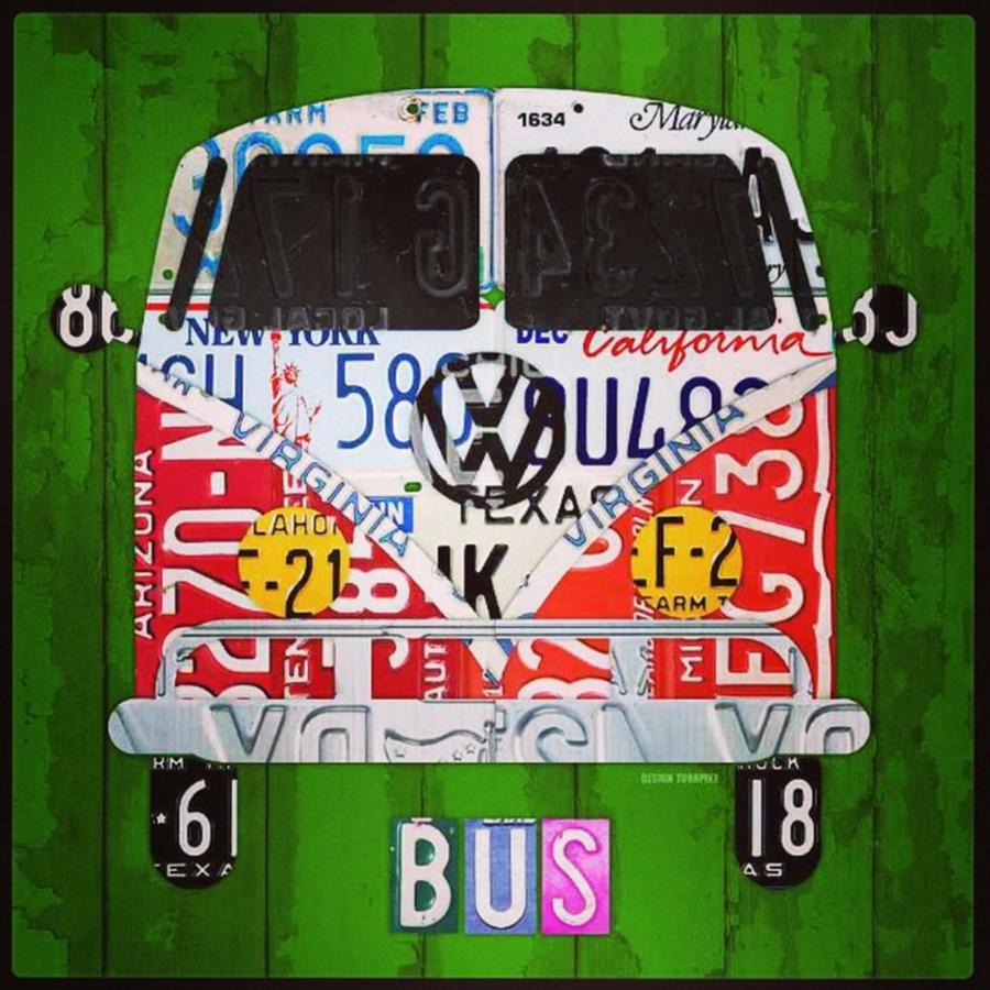 Bus Photograph - New #vw License Plate Art Series Out On by Design Turnpike
