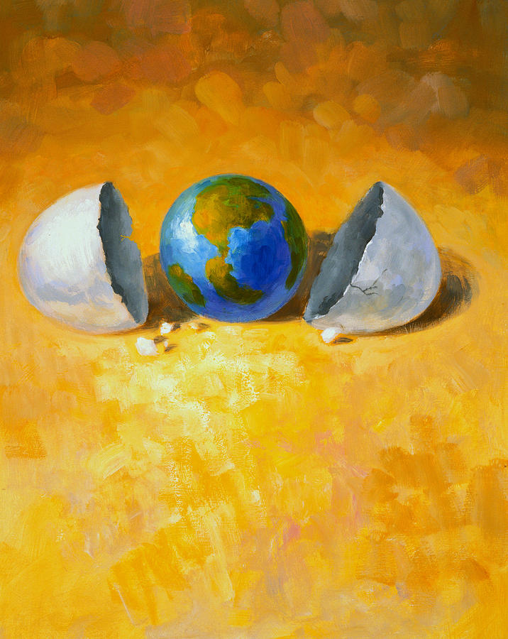 Globe Painting - New World by Andrew Judd