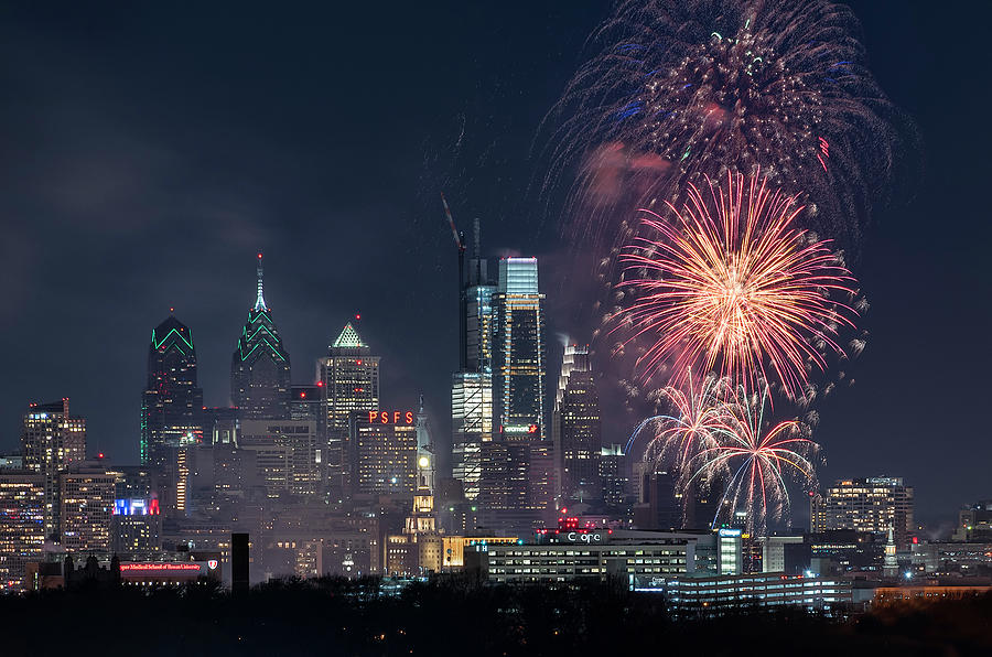 New Years Fireworks In Philadelphia Photograph by Bruce ...
