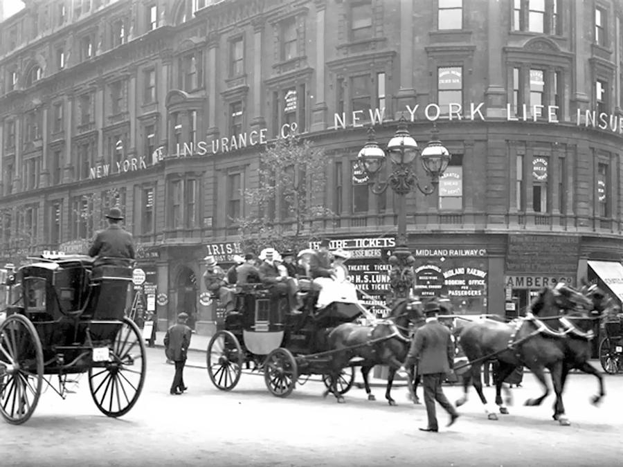 New York Ny City Horse Men Man Building Vintage 1898 Street  Photograph - New York 1898 by Steve K