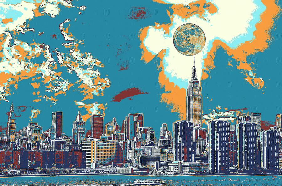 Nature Painting - New York America  Skyline - Manhattan by Celestial Images