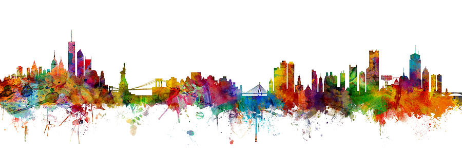Boston Digital Art - New York And Boston Skyline Mashup by Michael Tompsett