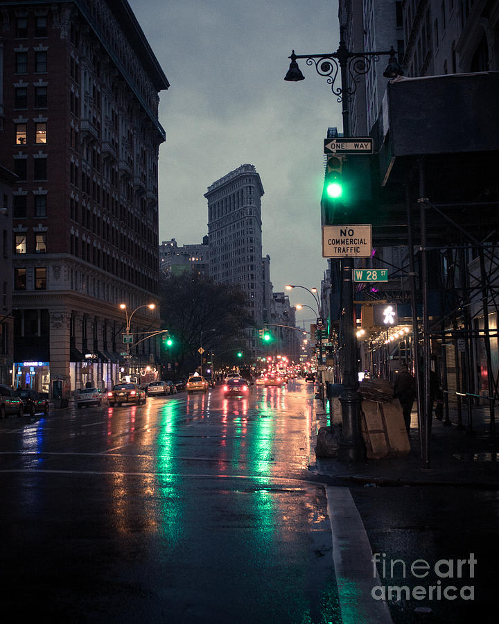 New York Skyline Photograph - New York at night Flatiron by John Farnan