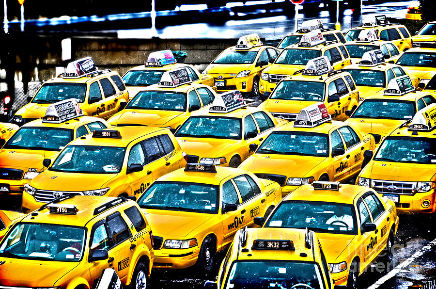 Number Photograph - New York Cab by Alessandro Giorgi Art Photography