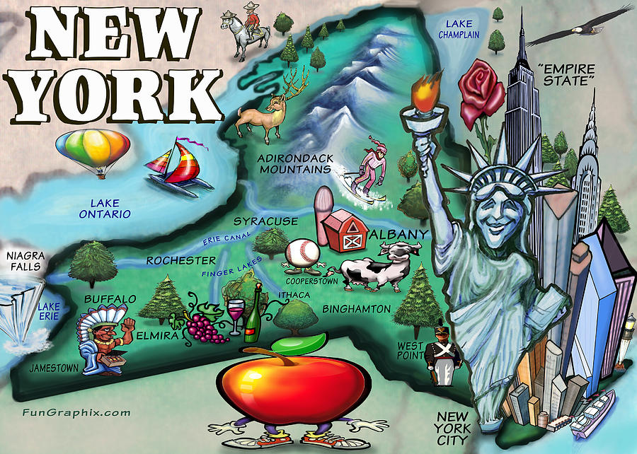 New York Digital Art - New York Cartoon Map by Kevin Middleton