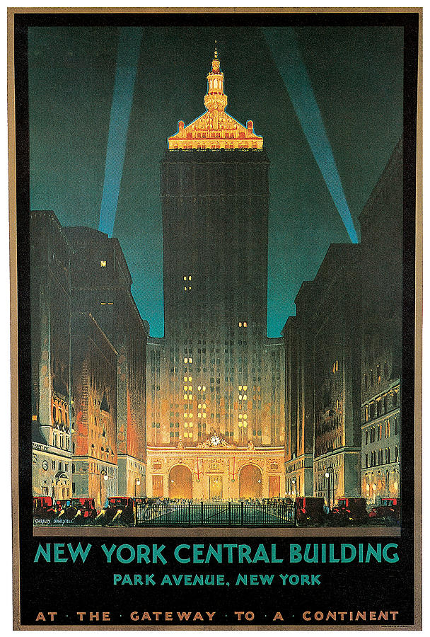 New York Painting - New York Central Building by Chesley Bonestell