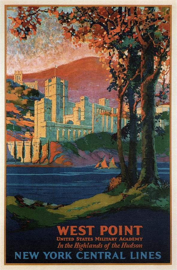 New York Central Lines - West Point - Retro Travel Poster - Vintage Poster Mixed Media