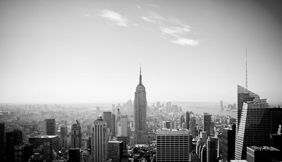 New Photograph - New York City - Empire State Building Panorama Black And White by Thomas Richter