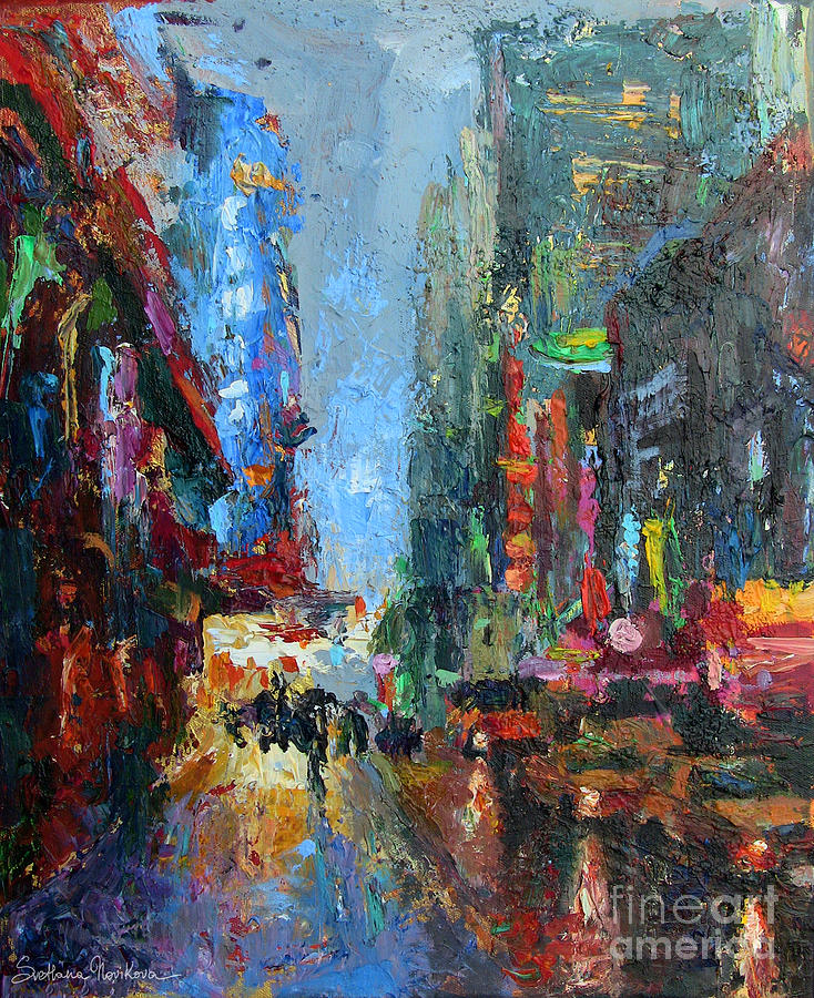 Acrylic Painting Painting - New York City 42nd Street Painting by Svetlana Novikova