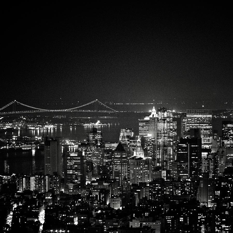 Square Photograph - New York City At Night by Image - Natasha Maiolo