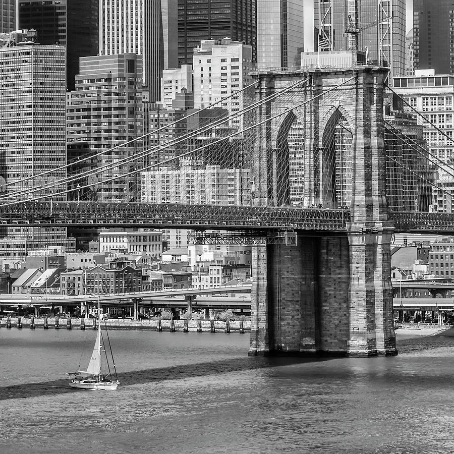 New York Photograph - New York City Brooklyn Bridge And East River by Melanie Viola