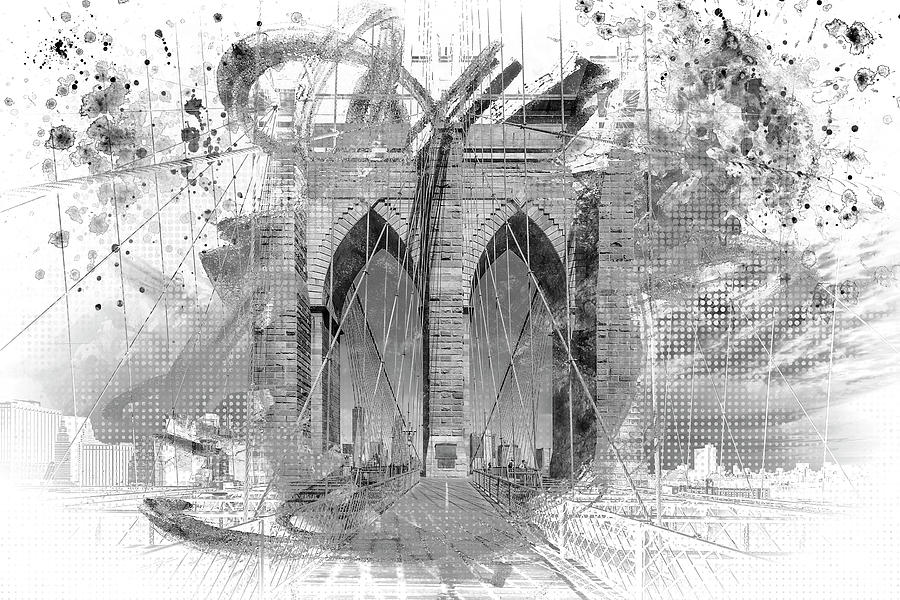 NEW YORK CITY Brooklyn Bridge in Detail - grey by Melanie Viola