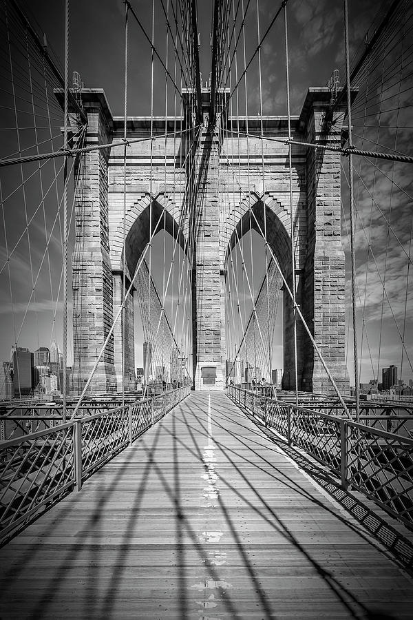 New York City Photograph - New York City Brooklyn Bridge - Monochrome by Melanie Viola
