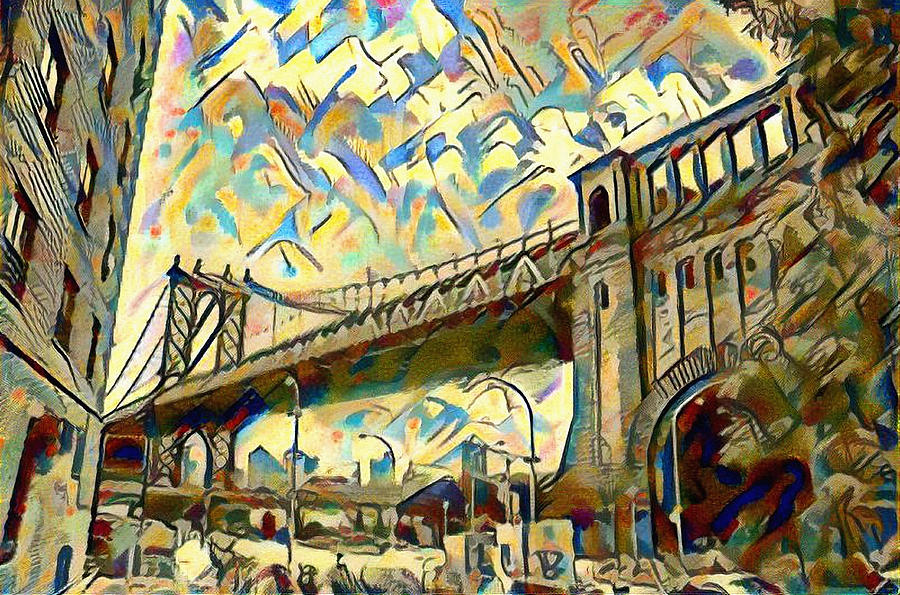 New York City - Brooklyn Bridge Watercolor Painting by Bill Cannon