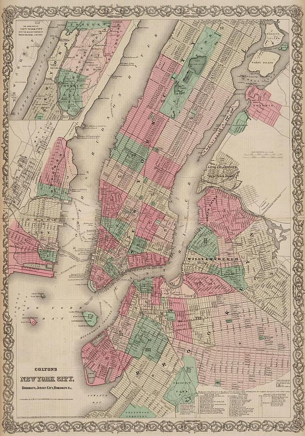 Hoboken Painting - New York City, Brooklyn, Jersey City, Hoboken by Colton
