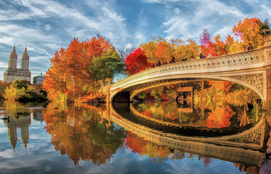 New York City Central Park Bow Bridge Painting By Christopher Arndt
