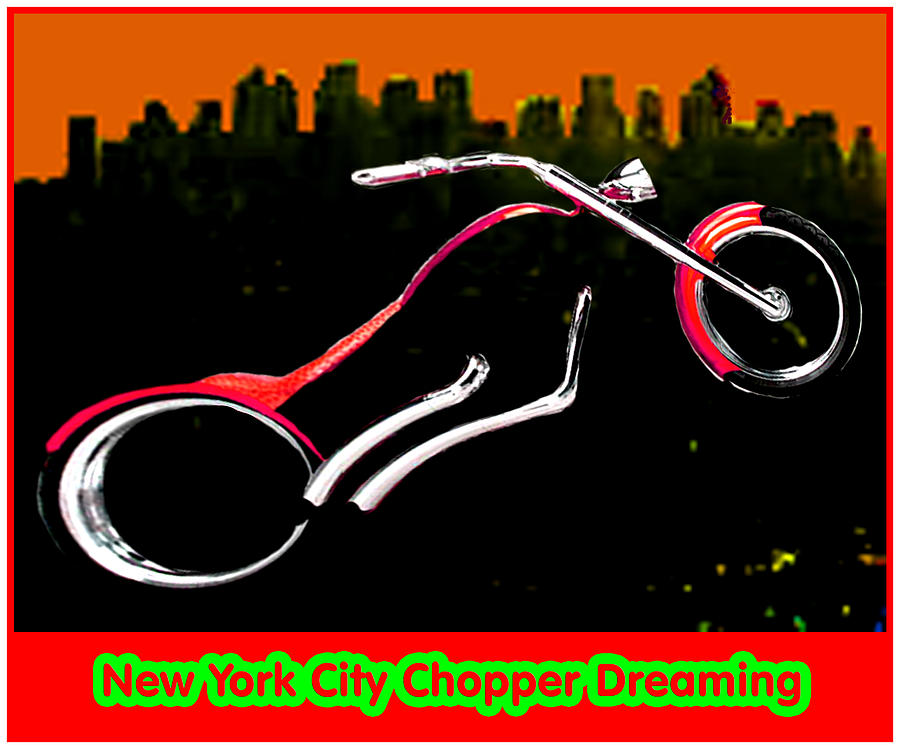 New York City Digital Art - New York City Chopper Dreaming Red Jgibney The Museum Zazzle Gifts Fa by The MUSEUM Artist Series jGibney