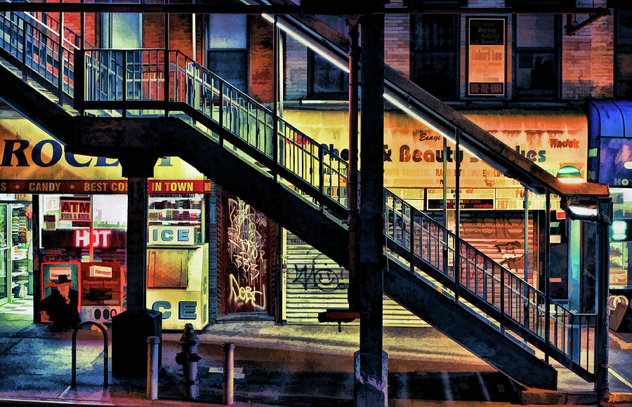 New York Painting   New York City Elevated Subway Stairs By Christopher  Arndt