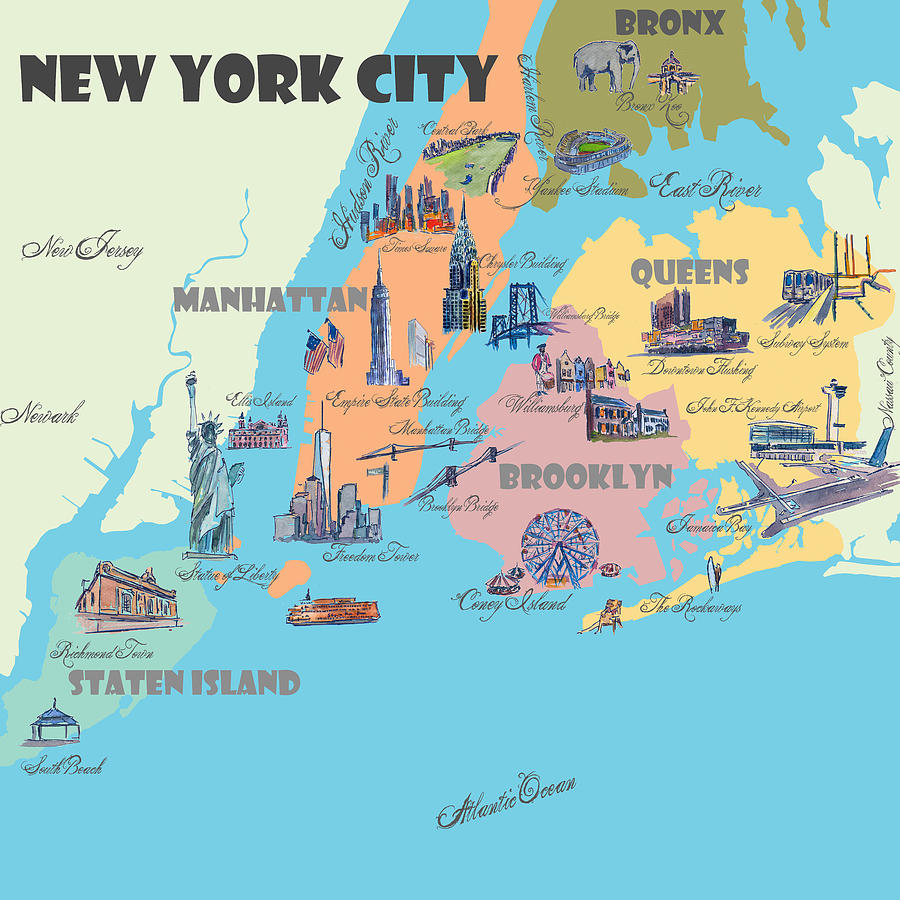 New York City Fine Art Print Retro Vintage Favorite Map With Touristic City Map Of New York on map of brooklyn, map of world trade center, map of new york state, map of queens ny, map of new york university, map of the northeast, map of honolulu, map of pennsylvania, los angeles, statue of liberty, map of washington dc, map of toronto, map of cleveland ohio, san francisco, las vegas, central park, map of staten island, map of san diego, map of las vegas, united states of america, map of 50 states, map of bronx, map of los angeles, map of manhattan, map of times square, new jersey, map of nevada, times square, empire state building,