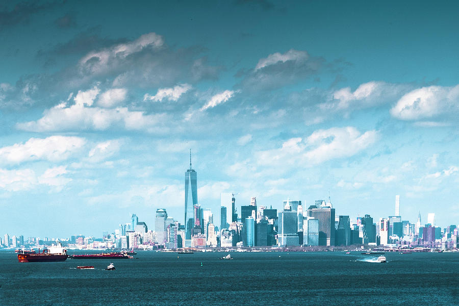 New York City Harbor with clouds by Kenneth Cole